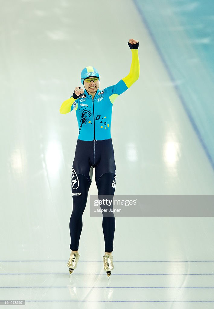 Denis Kuzin of Kazachstan celebrates after the 1000m race where he won gold on day two of the Essent ISU World Single Distances Speed Skating Championships at the Adler Arena Skating Center on March 22, 2013 in Sochi, Russia.