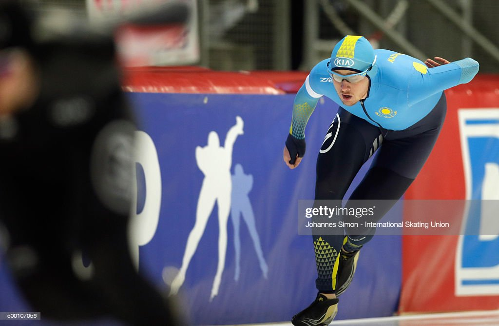 <a gi-track='captionPersonalityLinkClicked' href=/galleries/search?phrase=Denis+Kuzin&family=editorial&specificpeople=6746805 ng-click='$event.stopPropagation()'>Denis Kuzin</a> of Kazachstn participates in the men 1000m heats during Day 2 of the ISU Speed Skating World Cup at the Max Aicher Arena on December 5, 2015 in Inzell, Germany.