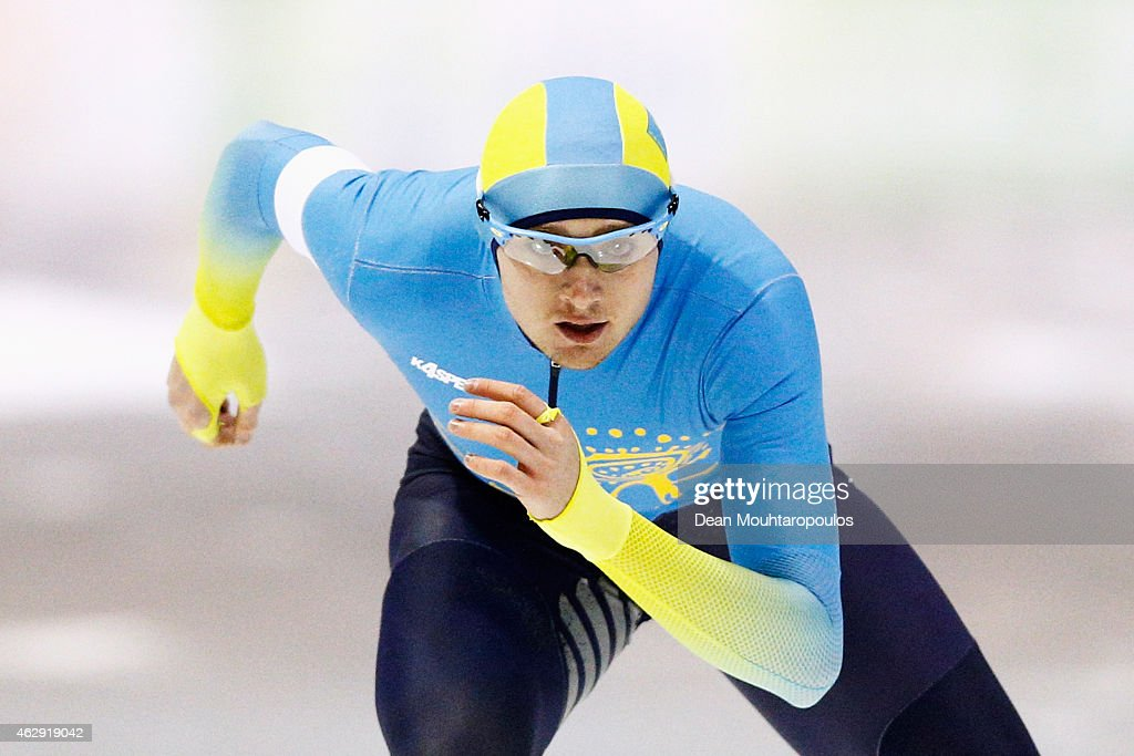 <a gi-track='captionPersonalityLinkClicked' href=/galleries/search?phrase=Denis+Kuzin&family=editorial&specificpeople=6746805 ng-click='$event.stopPropagation()'>Denis Kuzin</a> of Kazakhstan competes in the 1000m Mens race during day 1 of the ISU World Cup Speed Skating held at Thialf Ice Arena on February 7, 2015 in Heerenveen, Netherlands.