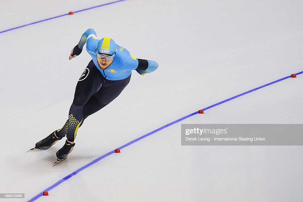 <a gi-track='captionPersonalityLinkClicked' href=/galleries/search?phrase=Denis+Kuzin&family=editorial&specificpeople=6746805 ng-click='$event.stopPropagation()'>Denis Kuzin</a> of Kazakhstan skate in the Men's 100m during the ISU World Allround Speed Skating Championships at Olympic Oval on November 14, 2015 in Calgary, Alberta, Canada.