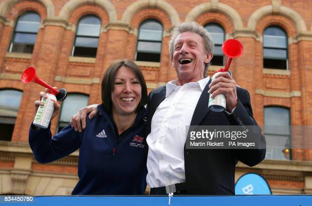 Denis Law and British World Cycling Championships gold medal winner Rebecca Romero start the BUPA Great Manchester Run in Manchester