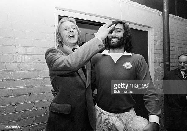 Denis Law of Manchester United prior to his Testimonial with teammate George Best at Old Trafford Manchester circa 1973