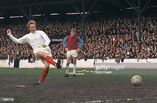 Denis Law of Manchester United takes a penalty during a match against West Ham United at Upton Park in London Mandatory Credit Allsport UK /Allsport
