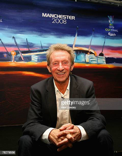 Denis Law the UEFA Cup Final Ambassador poses next to the artwork for the UEFA Cup Final 2008 by local artist Liam Spencer during the UEFA Cup Final...