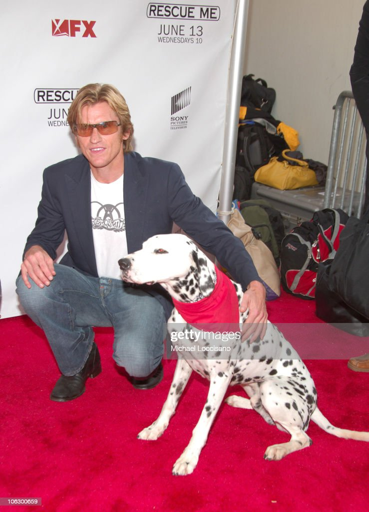 Denis Leary and Dalmatians during 'Rescue Me' Premiere Arrivals at AMC Theatre Times Square in New York City New York United States
