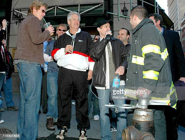 Denis Leary Lenny Clarke Anthony Cumia and FDNY during Denis Leary with Opie and Anthony May 23 2006 in New York City New York United States