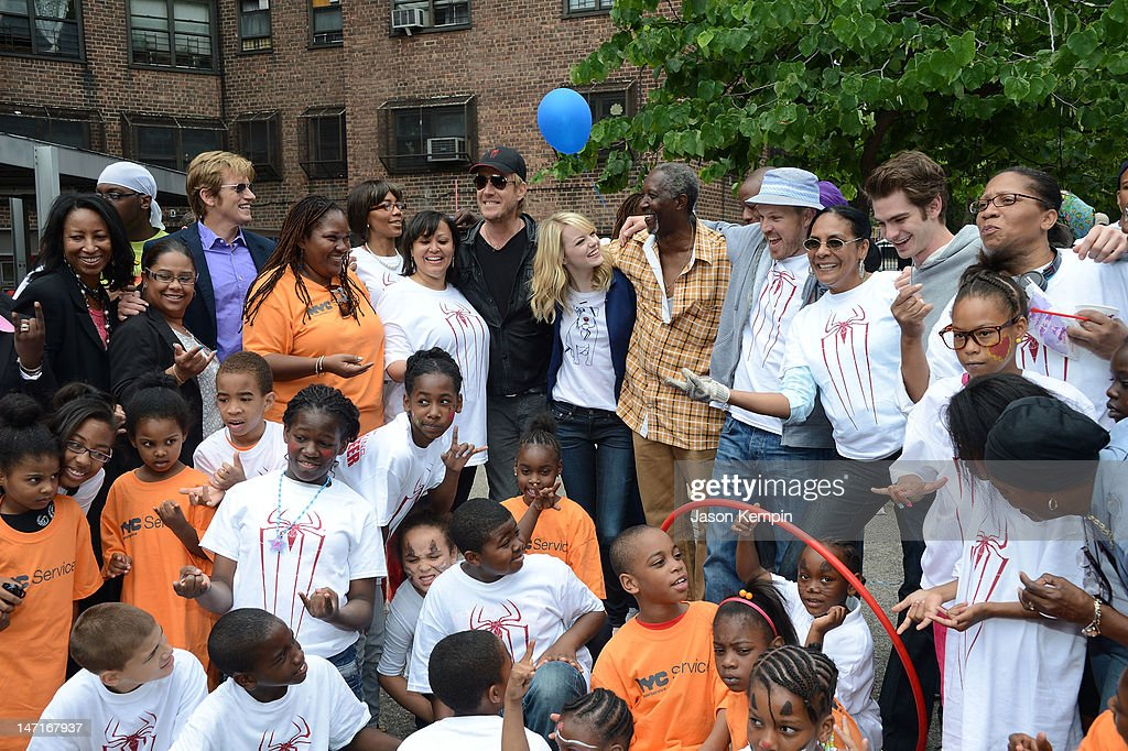 Denis Leary, Rhys Ifans, Emma Stone, Marc Webb and Andrew Garfield attend the 'Be Amazing' Stand Up Volunteer Initiative at Madison Boys And Girls Club on June 26, 2012 in the Brooklyn borough of New York City.