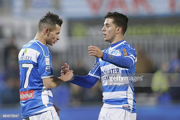 Denis Mahmudov of Pec Zwolle Mustafa Saymak of Pec Zwolle during the Dutch cup match between PEC Zwolle and JVC Cuijk at IJsseldelta stadium on...