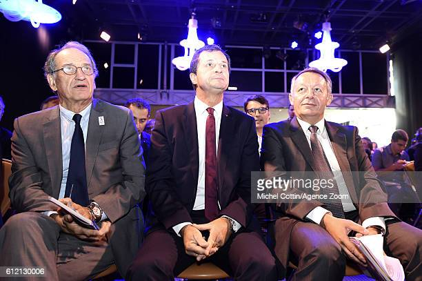 Denis Massiglia president of the French Olympic Committee Michel Vion president of the French Ski Federation and Thierry Braillard French Sports...