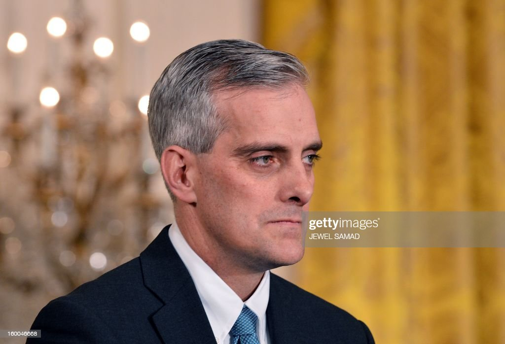 Denis McDonough, a deputy national security advisor and member of US Preisdent Barack Obama's inner circle, smiles as Obama introduces him as the new White House Chief of Staff in the East Room of the White House on January 25, 2013 in Washington. McDonough, 43, replaces Jacob Lew, who has been nominated to be Obama's new Treasury Secretary. AFP PHOTO/Jewel Samad