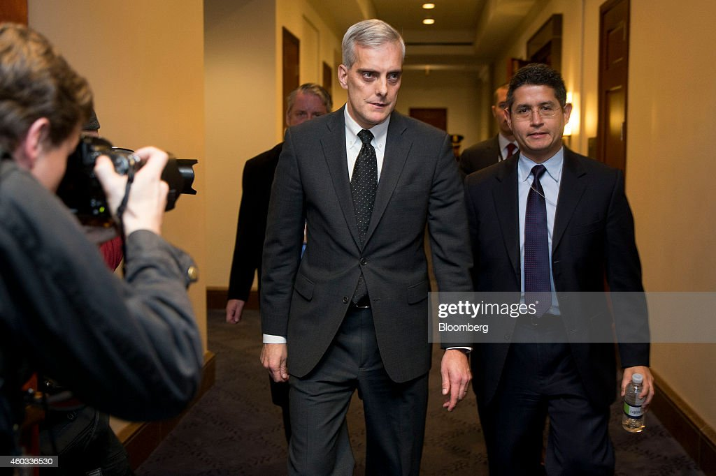 <a gi-track='captionPersonalityLinkClicked' href=/galleries/search?phrase=Denis+McDonough&family=editorial&specificpeople=5759820 ng-click='$event.stopPropagation()'>Denis McDonough</a>, White House chief of staff, center, walks through the Capitol Visitors Center after attending a House Democratic caucus meeting at the U.S. Capitol in Washington, D.C., U.S., on Thursday, Dec. 11, 2014. The House passed a $1.1 trillion spending bill after a day of disarray and just hours before U.S. government funding runs out. Photographer: Andrew Harrer/Bloomberg via Getty Images
