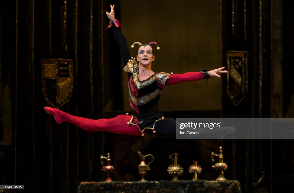 Denis Medvedev of the Bolshoi Ballet performs during a photocall for 'Swan Lake' at The Royal Opera House on July 29, 2013 in London, England.