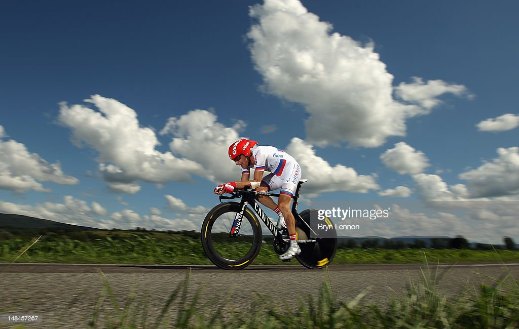 Denis Menchov of Russia and the Katusha Team in action during stage nine of the 2012 Tour de France, a 41.5km individual time trial, from Arc-et-Senans to Besancon on July 9, 2012 in Besancon, France.