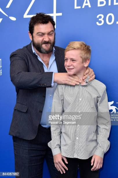 Denis Menochet and Thomas Gioria attend the 'Jusqu'a La Garde' photocall during the 74th Venice Film Festival on September 8 2017 in Venice Italy