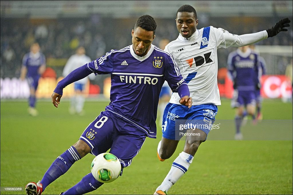 Denis Odoi of RSC Anderlecht and Yaya Soumahoro of KAA Gent in action during the Cofidis Cup match between Rsc Anderlecht and Kaa Gent on January 16, 2013 in Anderlecht , Belgium.