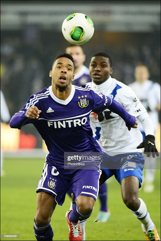 Denis Odoi of RSC Anderlecht in action during the Cofidis Cup match between Rsc Anderlecht and Kaa Gent on January 16, 2013 in Anderlecht , Belgium.