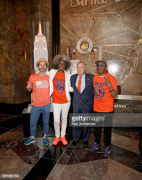 Denis O'Hare Erica Ford John Feinblatt and Spike Lee light The Empire State Building In Recognition Of National Gun Violence Awareness Month at The...