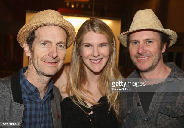 Denis O'Hare Lily Rabe and Josh Hamilton pose at the opening night party for The New Group Theater Company's new play 'Whirligig' at Social Drink and...
