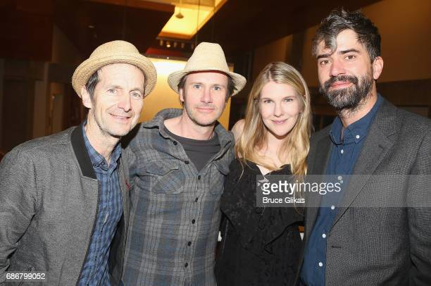 Denis O'Hare Lily Rabe Josh Hamilton and Hamish Linklater pose at the opening night party for The New Group Theater Company's new play 'Whirligig' at...