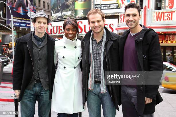 Denis O'Hare Montego Glover Chad Kimball and Ethan Zohn attend the Stand Up to Cancer Times Square News Year's Eve initiative launch at Duffy Square...