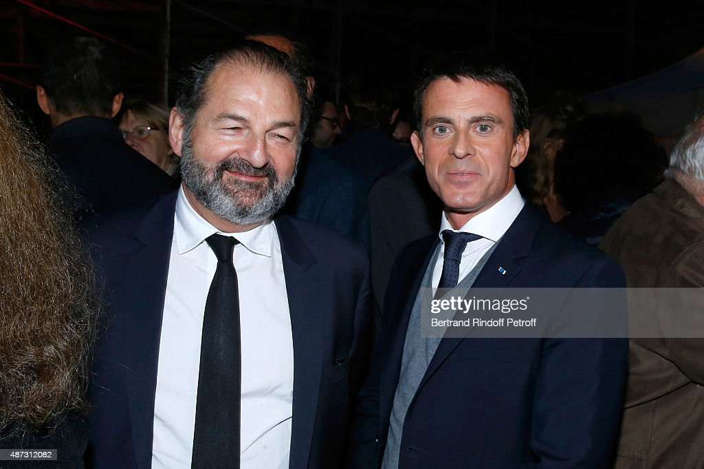 Denis Olivennes and French Prime Minister Manuel Valls attend 'La Traviata' - Opera en Plein Air, produced by Benjamin Patou, 'Moma Group'. Held at Hotel Des Invalides on September 8, 2015 in Paris, France.