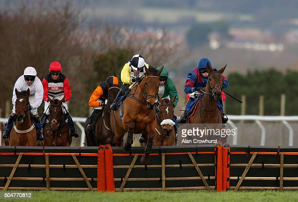 Denis O'Regan riding Stop The Press on their way to winning The Broadway Horton Cricket Club 'National Hunt' Novices' Hurdle Race at Taunton...