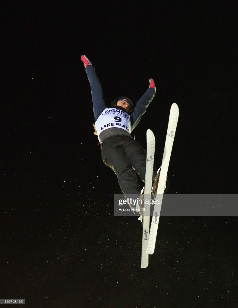 Denis Osipau #9 of Belarus jumps in the USANA Freestyle World Cup aerial competition at the Lake Placid Olympic Jumping Complex on January 18, 2013 in Lake Placid, New York.