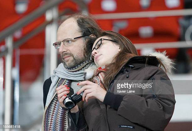 Denis Podalydes and his new girlfriend attend the UEFA Champions League between Paris Saint Germain and GNK Dinamo Zagreb at Parc Des Princes on...