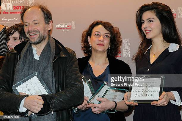 Denis Podalydes Noemie Lvovsky and Julia Faure attends the Cesar 2013 nominne lunch at Le Fouquet's on February 2 2013 in Paris France