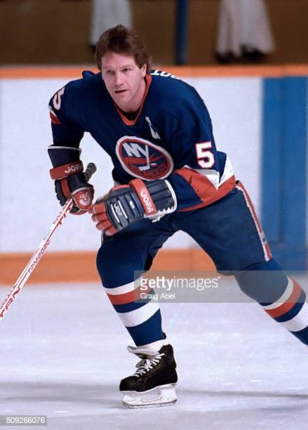 Denis Potvin of the New York Islanders skates in warmup prior to a game against the Toronto Maple Leafs in Maple Leaf Gardens in Toronto Ontario...