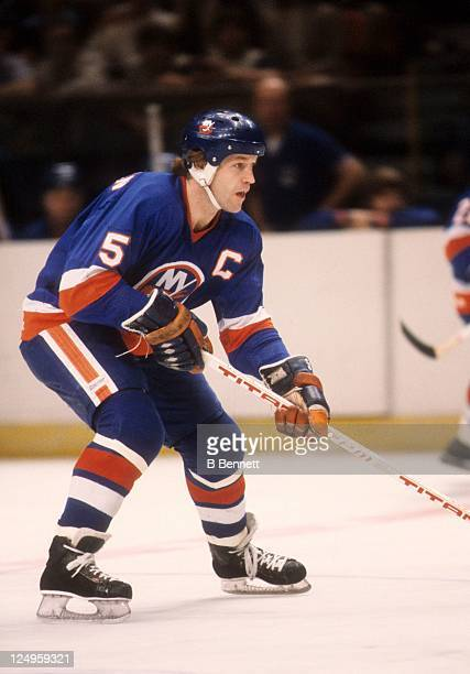 Denis Potvin of the New York Islanders skates on the ice during a 1981 Semi Finals game against the New York Rangers in May 1981 at the Madison...