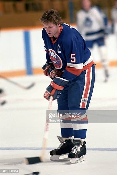Denis Potvin of the New York Islanders takes warmup prior to a game against the Toronto Maple Leafs on November 6 1985 at Maple Leaf Gardens in...