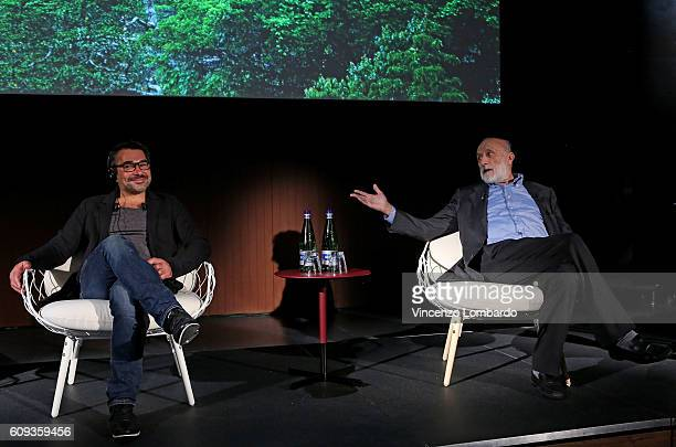 Denis Rouvre and Carlo Petrini attend the 2017 Lavazza Calendar Presentation on September 20 2016 in Milan Italy