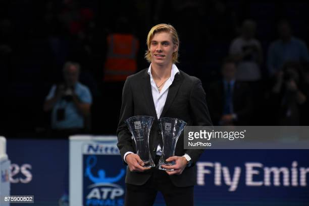 Denis Shapovalov after being presented with trophies for the ATP Star of Tomorrow and Most Improved Player at O2 Arena on November 18 2017 in London...