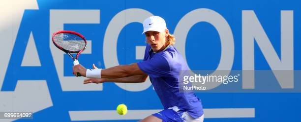 Denis Shapovalov againstTomas Berdych CZE during Round Two match on the third day of the ATP Aegon Championships at the Queen's Club in west London...