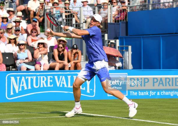 Denis Shapovalov agoinst Kyle Edmund GBR during Round One match on the first day of the ATP Aegon Championships at the Queen's Club in west London on...