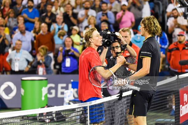 Denis Shapovalov and Alexander Zverev shaking hands after the end of their semifinal match at ATP Coupe Rogers on August 12 at Uniprix Stadium in...