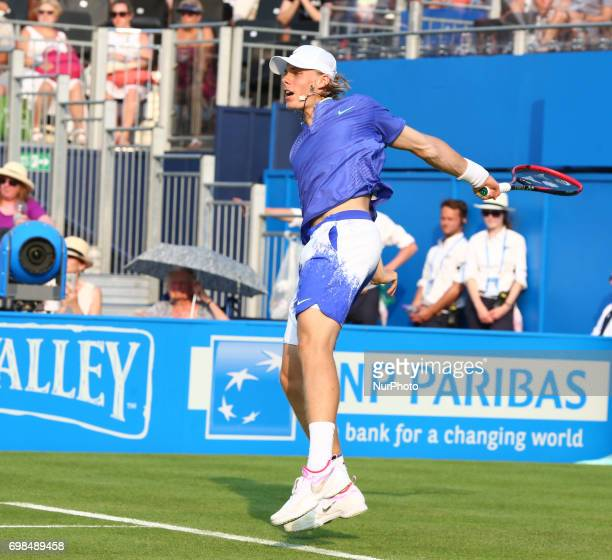 Denis Shapovalov beats Kyle Edmund GBR during Round One match on the first day of the ATP Aegon Championships at the Queen's Club in west London on...
