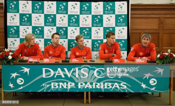 Denis Shapovalov Daniel Nestor Peter Polansky Vasek Pospisil and Martin Laurendeau of ]Canada answer media questions during the draw ceremony of the...