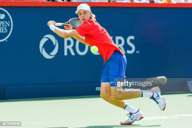 Denis Shapovalov make eye contact with the ball and returns it during his first round match at ATP Coupe Rogers on August 8 at Uniprix Stadium in...