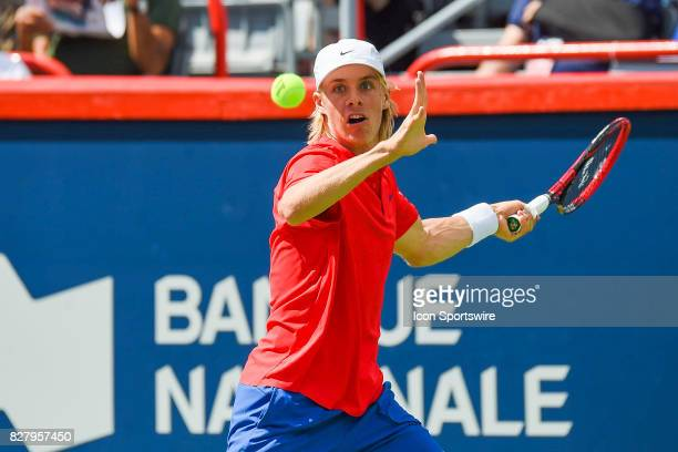 Denis Shapovalov makes eye contact with the ball then returns it during his first round match at ATP Coupe Rogers on August 8 at Uniprix Stadium in...