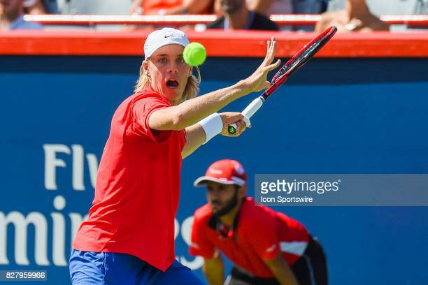 Denis Shapovalov makes eye contact with the ball then returns the it during his first round match at ATP Coupe Rogers on August 8 at Uniprix Stadium...