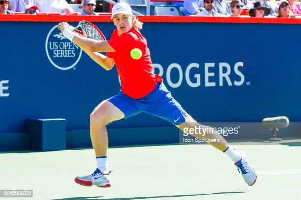 Denis Shapovalov making eye contact with the ball while running during his second round match at ATP Coupe Rogers on August 9 at Uniprix Stadium in...