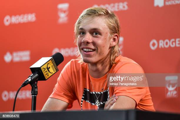 Denis Shapovalov of Canada addresses the media after his victory against Juan Martin del Potro of Argentina during day six of the Rogers Cup...