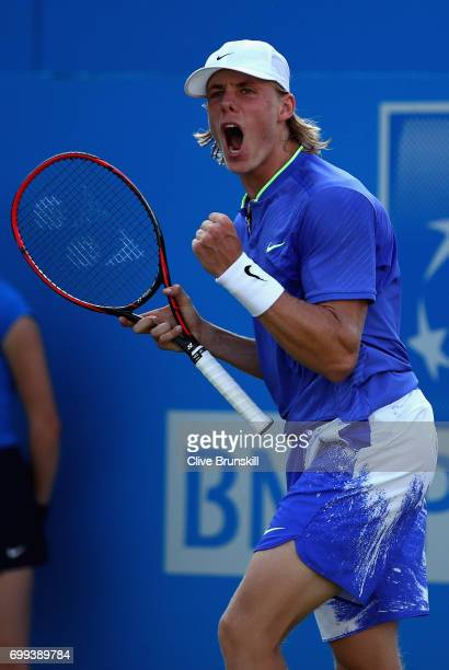 Denis Shapovalov of Canada celebrates during the mens singles second round match against Thomas Berdych of The Czech Republic on day three of the...
