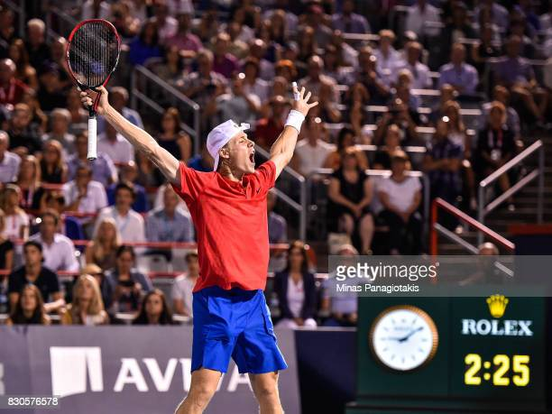 Denis Shapovalov of Canada celebrates his victory over Adrian Mannarino of France during day eight of the Rogers Cup presented by National Bank at...