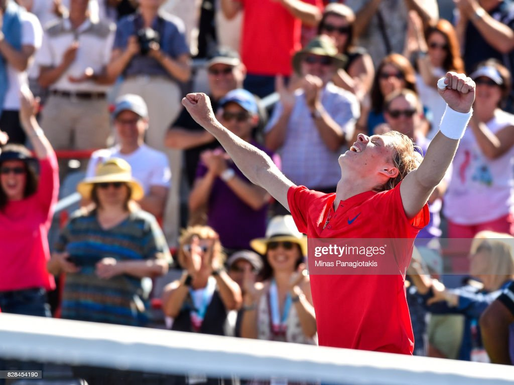 Denis Shapovalov of Canada celebrates his victory over Juan Martin del Potro of Argentina during day six of the Rogers Cup presented by National Bank at Uniprix Stadium on August 9, 2017 in Montreal, Quebec, Canada. Denis Shapovalov of Canada defeated Juan Martin del Potro of Argentina 6-3, 7-6.