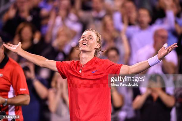 Denis Shapovalov of Canada celebrates his victory over Rafael Nadal of Spain during day seven of the Rogers Cup presented by National Bank at Uniprix...
