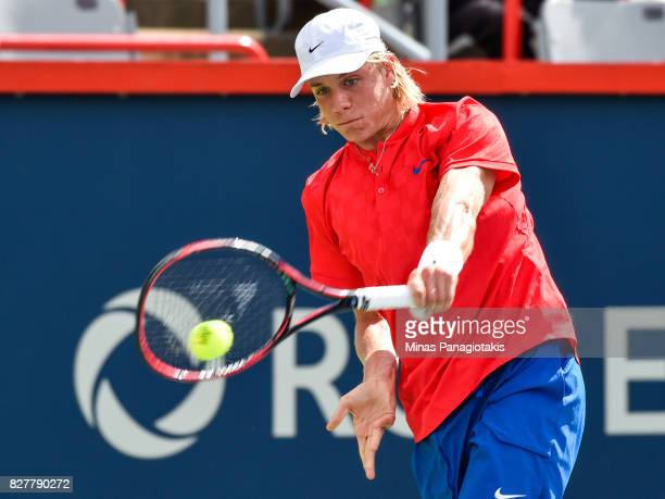 Denis Shapovalov of Canada hits a return against Rogerio Dutra Silva of Brazil during day five of the Rogers Cup presented by National Bank at...