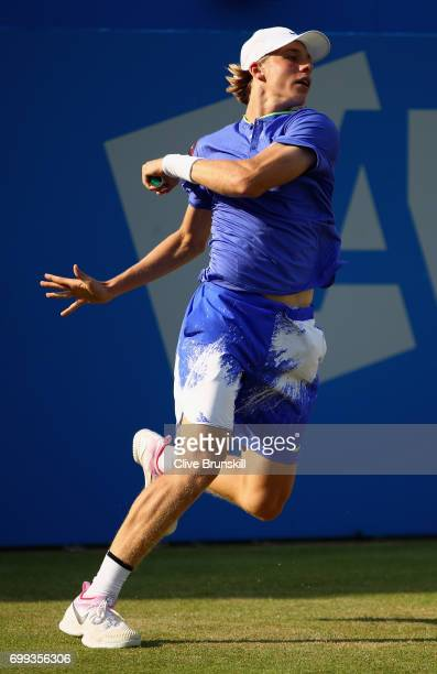 Denis Shapovalov of Canada in action during the mens singles second round match against Thomas Berdych of The Czech Republic on day three of the 2017...